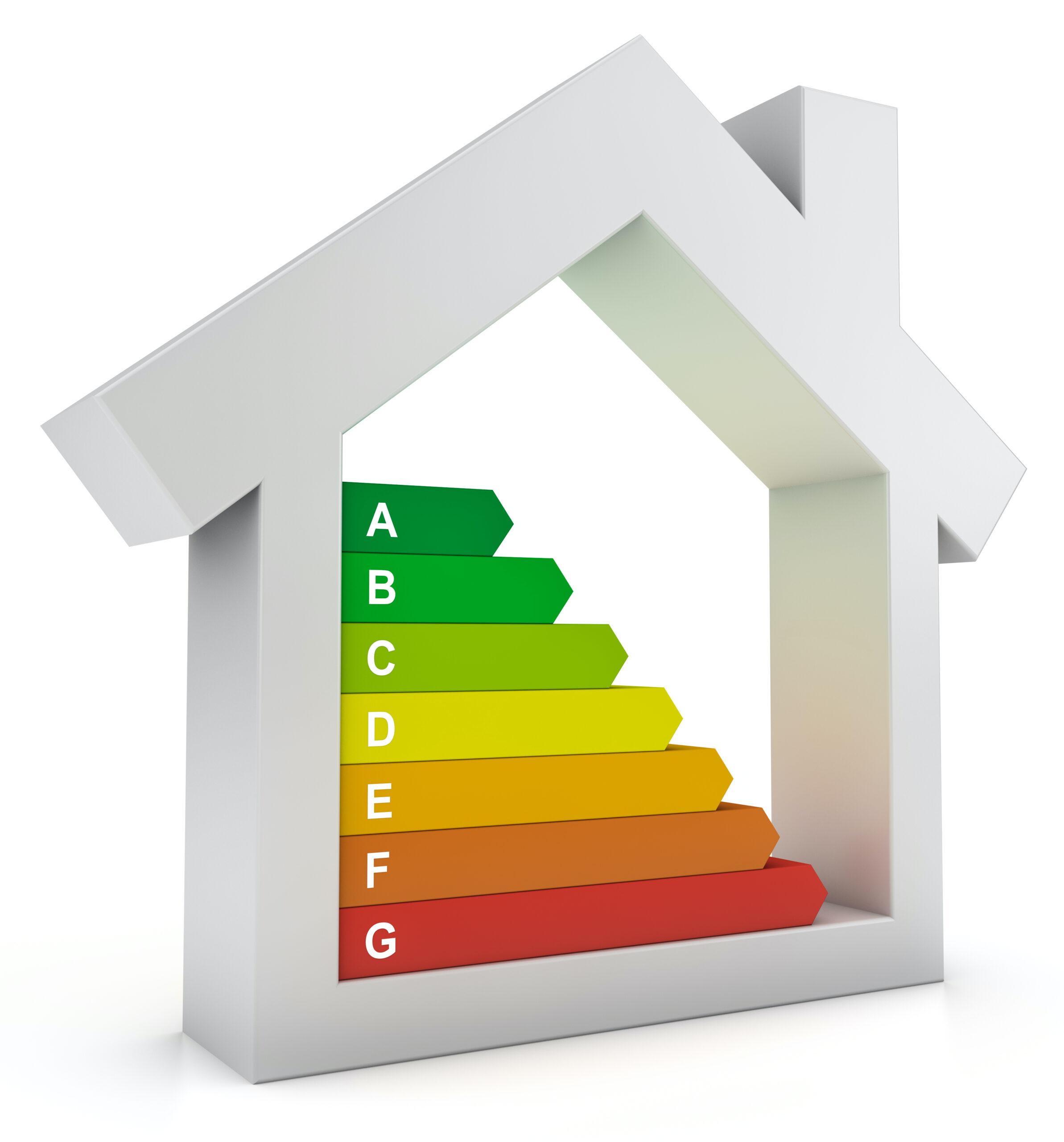 Weißes Haus mit Ausweisungen von dem Energieffizienzausweis